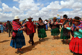 Local Aymara people dancing at a festival near Umala, Bolivia