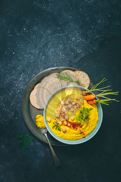 Turmeric Hummus served with Carrots and Oatcakes
