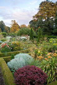 Ruth's Garden featuring colour themed beds divided by box hedges and gravel paths