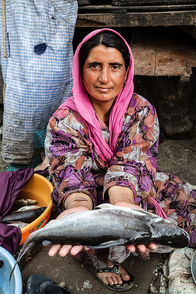 Woman Selling Fish at Hazratbal Market