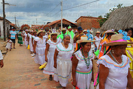 Abadesas during main procession of festival, San Ignacio de Moxos, Bolivia