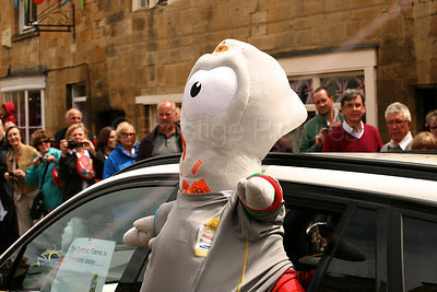 Wenlock Olympic Mascot Leans out of Car Window