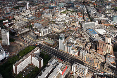Panoramic wide angle aerial photograph of    Birmingham city centre  West Midlands  England UK