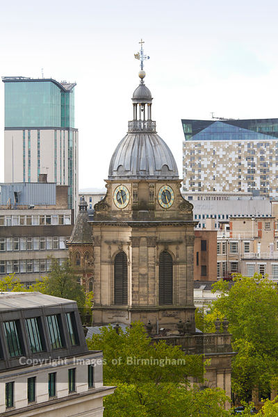 St. Philips cathedral in Birmingham. England, along with The Cube building in the rear.