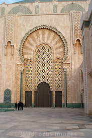 Massive archway and doors at the Hassan II Mosque, Casablanca, Morocco; Portrait