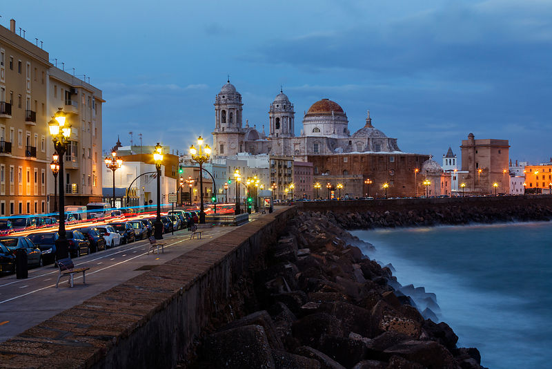 Skyline of Cadiz from the Sea Wall at Dusk