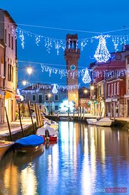 Canal with Christmas lights at night, Burano, Venice