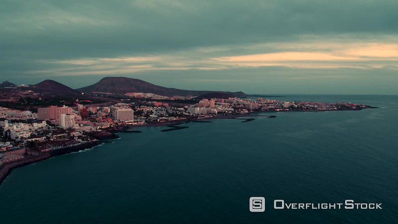 Los Christianos Sunset, Tenerife, Canary Islands, filmed by drone