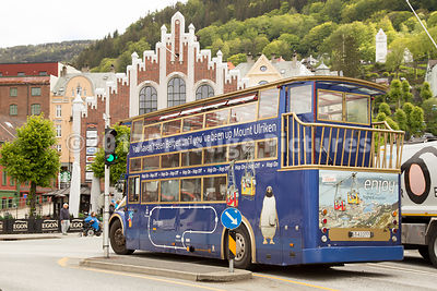 Hop on Hop off bus Advertsing Mount Ulriken Cable Car in Bergen