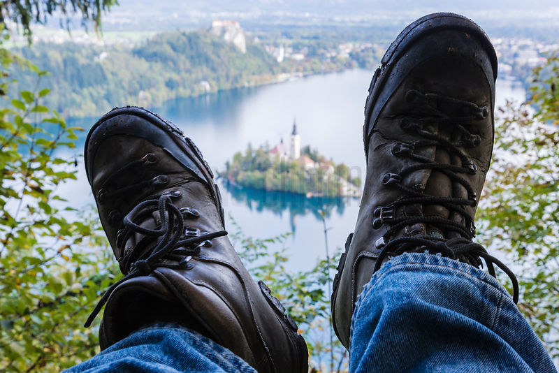 Hiker's Boots at the end of the Trail overlooking Lake Bled