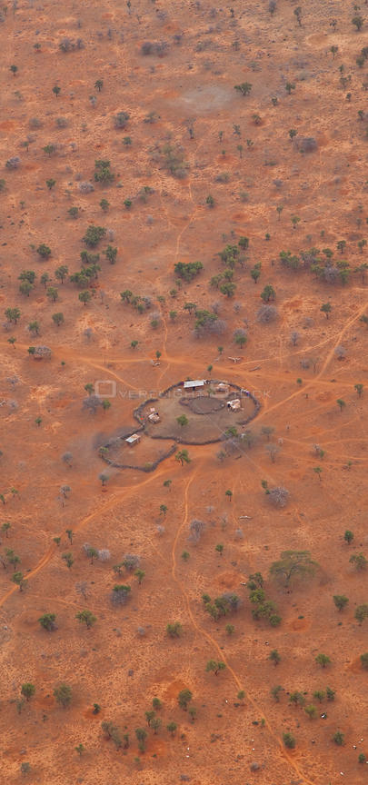 Aerial view of fenced Maasai tribe homestead, Rift Valley, Tanzania, Africa, August 2009