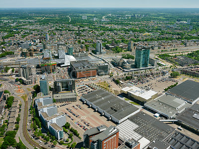 Redevelopment and construction of  the Central Station Area seen from the Jaarbeurs  with Utrecht city center in the background, Utrecht, the Netherlands