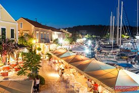 Town and harbor at night. Fiskardo, Kefalonia, Greece