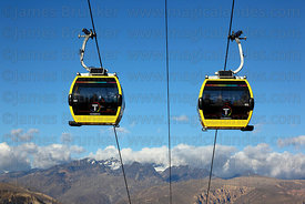 Yellow Line cable car gondolas , Cordillera Real mountains in background , Bolivia