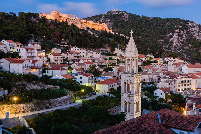 Hvar Fort and Town at Dusk