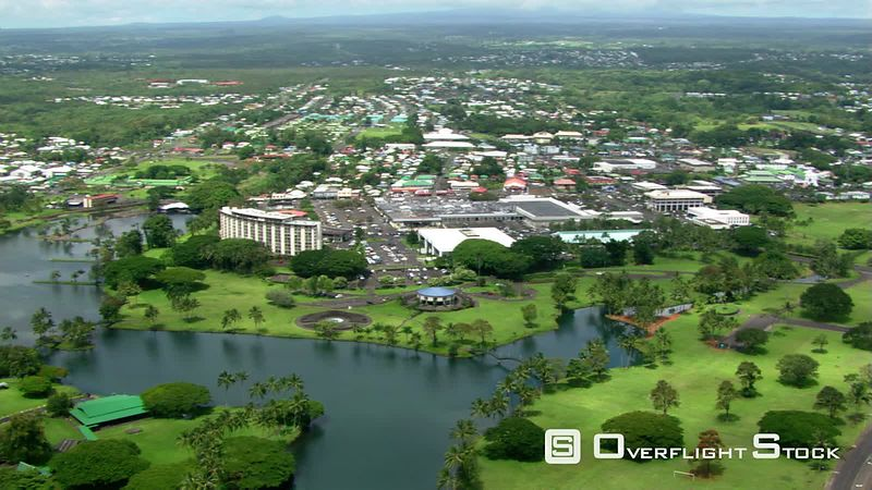 Wide aerial pan of Hilo, Hawaii