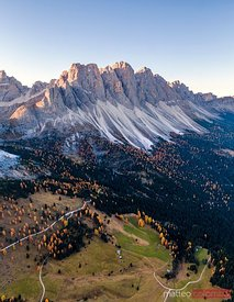 Aerial drone view of Odle peaks, Dolomites, Italy