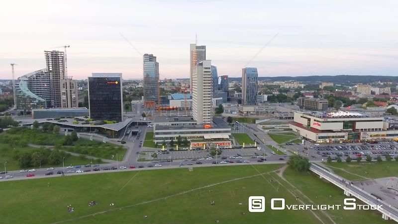 VILNIUS, LITHUANIA  Aerial view of cityscape at sunset.