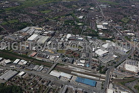 Bolton aerial photograph looking across Bolton railway station to the industrial area surrounding the Thynne Street area