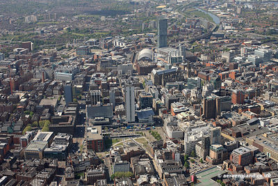 aerial view of Manchester City centre showing Piccadilly Gardens in the foreground