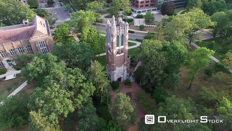 Drone Video of Michigan State University at East Lansing. Beaumont Tower, Museum, Library, Spartan Stadium.