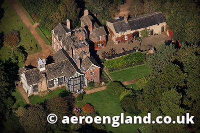 aerial photograph of Rufford Old Hall Lancashire England
