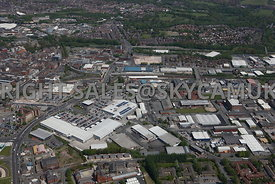 Bolton aerial photograph of the Bolton Shopping Park Trinity Street looking towards Bolton Railway Station