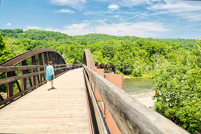 Female Hiker- Great Allegheny Passage Rails To Trails Bridge- Ohiopyle, PA
