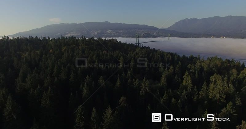 Drone Video Vancouver Canada. Stanley Park and Lions Gate Bridge on a Foggy Day