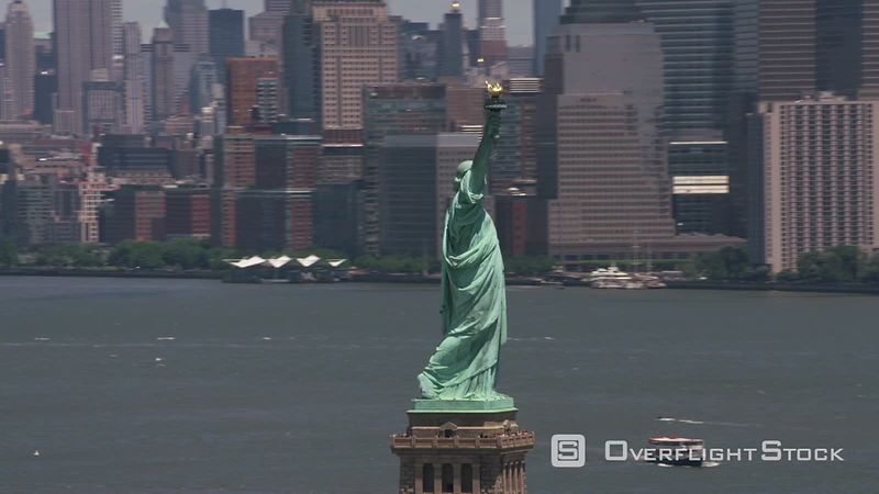 New York City, New York Daytime aerial view of Statue of Liberty in New York City.  Shot with Cineflex and RED EpicW Helium.