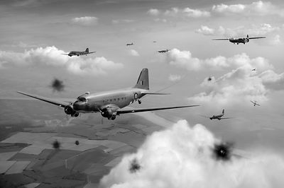 Dakotas and Horsas over Arnhem black and white version