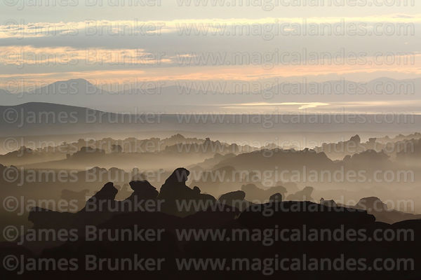 View over eroded volcanic rock formations at dawn, Nor Lípez Province, Bolivia