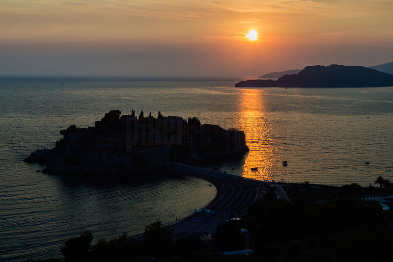 The Island of Sveti Stefan at Sunset