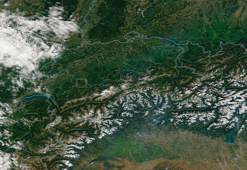 NASA satellite captures cloud free view of Switzerland