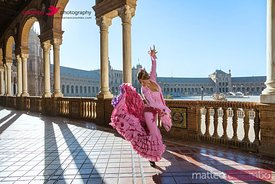 Flamenco dancer in Plaza de Espana, Seville, Spain