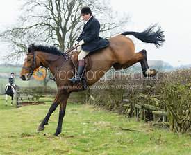 Roger Lee jumping a hedge near Wilson's covert