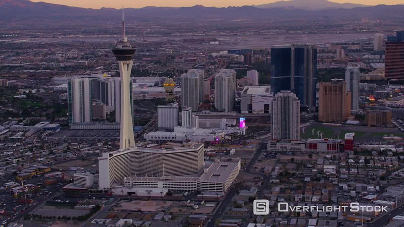 Las Vegas, Nevada Aerial view of Las Vegas Strip at sunset.  Shot with Cineflex and RED EpicW Helium.