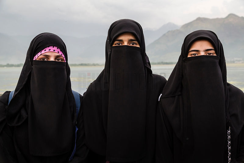 Portrait of Three Women at Dal Lake