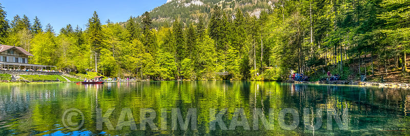 Panorama - Mountain reflection over Blausee lake -  Bern