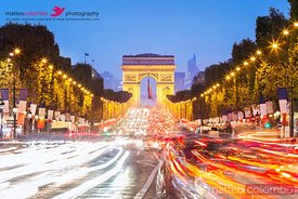 Champs Elysees and Arc de Triomphe at night, Paris, France