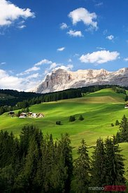 Green valley in the italian alps in summer Dolomites Italy