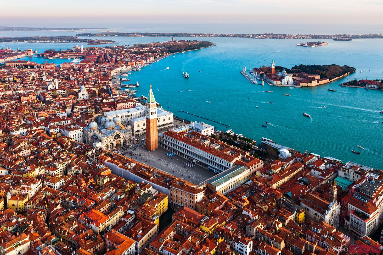 Aerial of St Mark's square and San Giorgio church, Venice, Italy