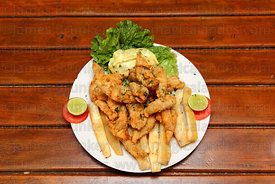 Chicharron de lenguado / deep fried chunks of sole , served with yuca chips , Peru