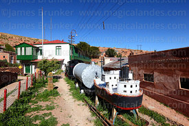 Model ship and manager's house in historic mining town of Pulacayo, Potosi Department, Bolivia