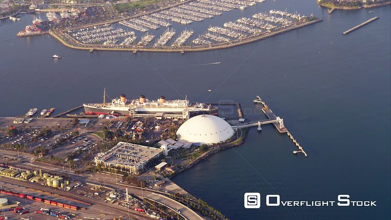 Aerial View Of Ocean Liner Queen Mary With Long Beach Marina In Background, RED R3D 4k California