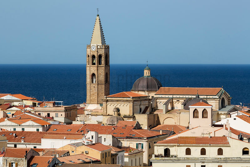 "Elevated View of the ""Catalan"" Town of Alghero and the Cattedrale di Santa Maria"
