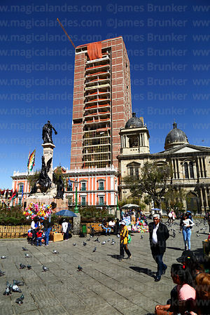 Cathedral and Presidential Palace (L), new Government Palace / Casa Grande del Pueblo under construction behind, Plaza Murillo, La Paz, Bolivia