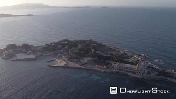Aerial view of Bendor Island and Bandol bay, filmed by drone, Bandol, France