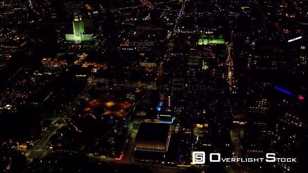 HA NIGHT AERIAL VIEW OF DOWNTOWN LOS ANGELES (DTLA) LOOKING EAST, THE ILLUMINATED BUILDING IS CITY HALL, RED R3D 4K