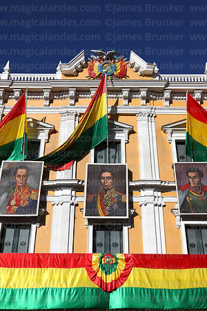 Portraits of former presidents on presidential palace for Independence Day, Plaza Murillo, La Paz, Bolivia